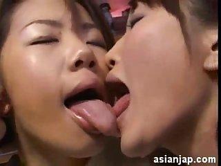 Japanese lesbians kiss 15