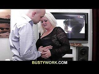Hot blonde fatty spreads her legs