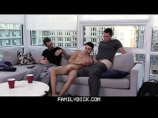 Familydick horny stepdad and older brother fucked a young Twink