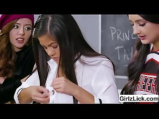 Lesbian threesome in the classroom with Kendra and Eliza