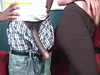 Brunette sucks long and big black cock