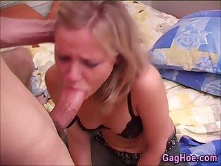 Blonde gag cumswallow