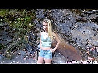 Cute blonde step daughter fucks stepdad outdoors