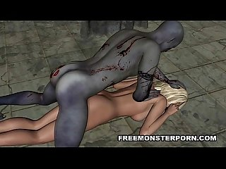 Sexy 3D cartoon bonde babe fucked by a zombie