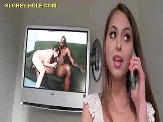 Brunette masturbates to porn