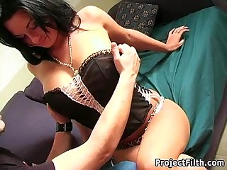 Busty french model face fucked and jizzed