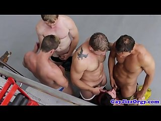 Firefighter hunks sliding on hard pole