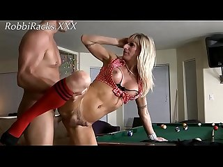 Mature shemale Robbi Racks gets her asshole fucked on the billiard table