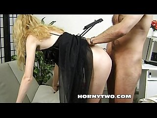 Young blonde skinny fuck whore take the boss for satisfying her itching cunt