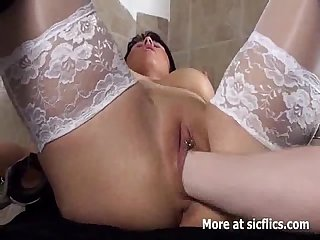 Blond MILF fist fucked in her cavernous vagina