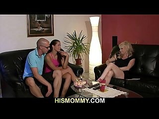 Naughty mom sucks and rides strapon armed girl