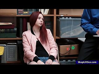 Redhead thief drilled by nasty lp officer in the backroom
