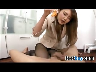 Footjob by a sweet japanese girl in nylons