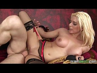 Horny blonde Kodi Gamble forces a guy to suck her bigtits and ram her twat