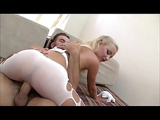 Blonde with amazing ass riding a big cock