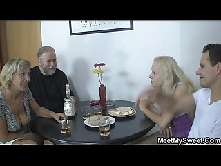 Her pussy gets licked and fucked by her bf s parents