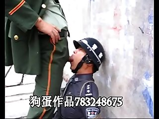 Chinese soldier men play slave