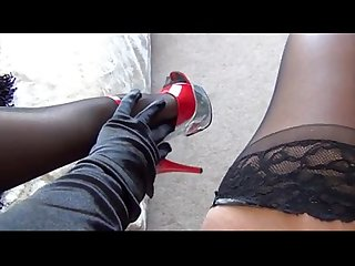 Sam Teases in Black Stoc - for all private movies view my profile
