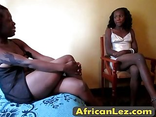 Sexy ebony lesbians are in the hotel room on top of each other