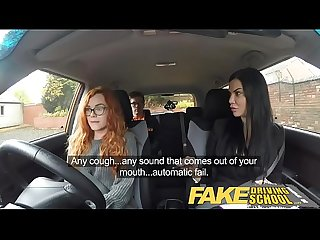 Fake driving school readhead teen and busty milf creampie