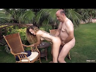Rich big belly oldman doggies his skinny nympho girlfriend