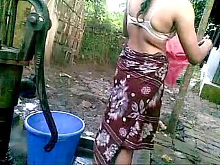 Village indian desi outdoor bath nude