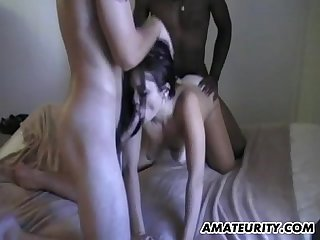 Amateur girlfriend interracial group sex with facial shots