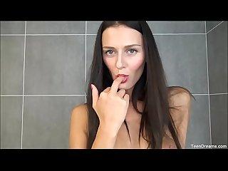 Kira takes a shower finger pussy