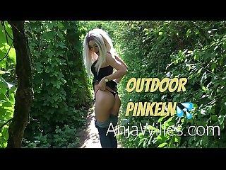 Cute teen piss outdoor