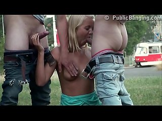 Cute blonde girl hard street public fuck broad daylight
