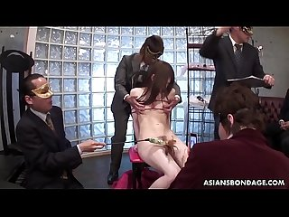 Masked guys have fun with tied up asian s sensitive nipples