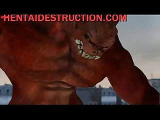 Gigantic creature fucks 3d hottie in the street - HentaiDestruction.com