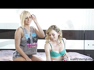 Kinky blonde teens Kate and Angel appreciates lesbo hot sex