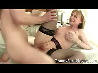 Granny in black stockings dicked