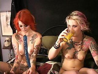 Two tattooed cuties fuck squirt w Frankenstein's Monstercock Longest upload
