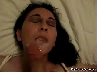 homemade amateur brunette facial