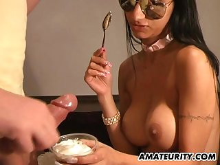 Busty amateur girlfriend eats cum with a spoon