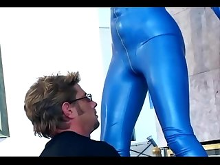 Fucking and drooling blowjob in boots and latex