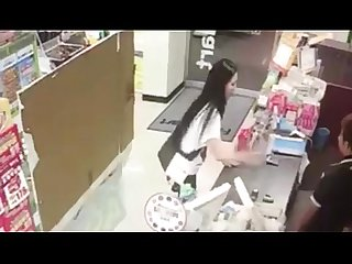 Girl pissing in mart and drinking her urine