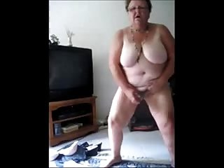 Exhibitionist slut granny selftaped masturbating amateur