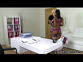 Busty female agent licking tanned amateur babe