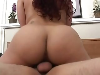 Tattooed girl gets on top of hard cock while sucking another guy's rod