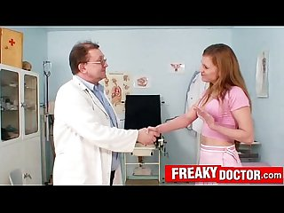 Dirty old doctor finger-checks hot russian blonde Olga Barz