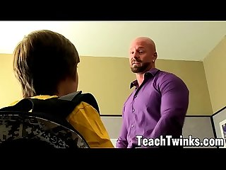 Muscular bald teacher ass destroys twink student for grades