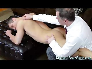 Older gay man in suit spanks and jerks naked young straight
