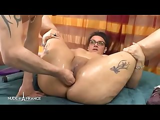 Amateur french mature BBW toying oiling squirting and anal prolapse