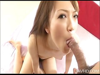 Wild Nazuna Otoi strips and kneels to deep throat a big cock before being filled