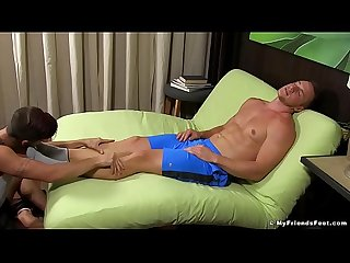 Hot muscular and athletic guy gets his toes and feet licked