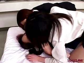 Asian Girl In Swimsuit Getting Her Nipples Sucked Pussy Licked By 2 Girls In Ski