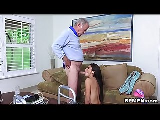 Petite Latina Michelle Martinez Gives Blowjob To Grandpa